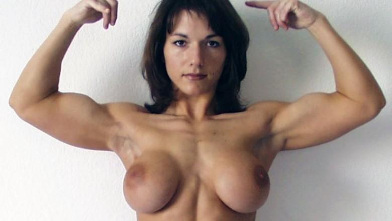 Shredded nude female muscle