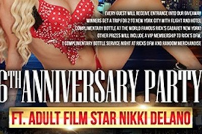Nikki Delano Featuring at Rick's Cabaret Dallas Ft. Worth to Celebrate 6-Year Anniversary